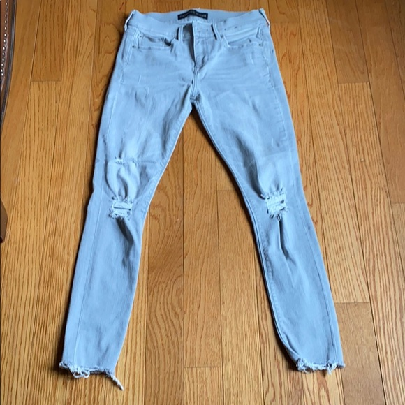 Express   Gray Distressed Skinny Jeans